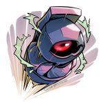 2018 beldum creature creatures_(company) dated deviantart_username full_body game_freak gen_3_pokemon motion_lines nintendo no_humans pokemon pokemon_(creature) red_eyes signature solo twarda8
