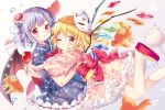 2girls :o ;) air_bubble alternate_costume bat_wings blonde_hair blue_kimono blurry bow bubble candy_apple closed_mouth cotton_candy crystal depth_of_field fish flandre_scarlet floral_print flower food fox_mask frills from_side fruit glomp goldfish hair_flower hair_ornament holding holding_food hug japanese_clothes kimono kimono_skirt knee_blush long_sleeves looking_at_viewer mask mask_on_head mimi_(mimi_puru) multiple_girls no_hat no_headwear obi one_eye_closed one_side_up open_mouth petticoat pink_kimono platform_footwear pointy_ears purple_hair red_bow red_eyes remilia_scarlet sandals sash shaved_ice short_hair short_kimono siblings sisters smile touhou watermelon white_background wide_sleeves wings