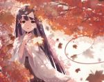 1girl absurdres artist_name autumn_leaves black_choker blurry blurry_foreground brown_eyes brown_hair brown_hakama choker commentary depth_of_field earrings english_commentary ghost hair_ribbon hakama hands_up highres japanese_clothes jewelry kimono lawnielle long_hair long_sleeves miko original red_ribbon ribbon ring short_kimono solo tree_branch triangular_headpiece very_long_hair white_kimono wide_sleeves