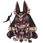 1girl animal_ears ankh anubis belt big_hair bike_shorts black_hair boots chibi dog earpiece earrings eyebrows_visible_through_hair hair_tubes jewelry long_hair looking_at_viewer navel original parted_lips solo standing transparent_background violet_eyes westxost_(68monkey)