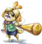 animal artist_name baseball_bat bowtie creepy dog dog_girl doubutsu_no_mori fang food fruit nintendo no_humans peach rage realistic rjs shizue_(doubutsu_no_mori) simple_background solo super_smash_bros. super_smash_bros._ultimate tobidase:_doubutsu_no_mori what