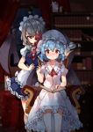 2girls absurdres apron ascot bangs black_wings blue_hair blurry blurry_background blush book bow closed_mouth cup curtains eyebrows_visible_through_hair facing_viewer flying_sweatdrops foreshortening frills green_bow hair_bow hand_up hat hat_ribbon head_tilt highres holding indoors izayoi_sakuya library light_particles maid_headdress mob_cap multiple_girls night red_eyes red_neckwear red_ribbon remilia_scarlet ribbon shade short_hair silver_hair sitting skirt skirt_set small_rabbit sweatdrop teacup touhou tray waist_apron white_hat white_skirt window wings