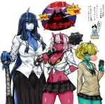 1boy 3girls blonde_hair blue_oni blue_skin breasts bubble_blowing business_suit cardigan chewing_gum cleavage club copyright_request delinquent demon_girl desk earrings fashion formal green_skin hair_over_one_eye horn horns jewelry kanabou long_hair mountain multiple_girls oni original plaid plaid_skirt pointy_ears red_oni red_skin school_uniform shadow short_hair silhouette skirt skj suit surgical_mask topknot translation_request weapon