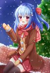 1girl :d bangs blue_hair blush bow breath brick_wall brown_coat brown_legwear brown_mittens christmas christmas_ornaments christmas_tree coat commentary_request duffel_coat eyebrows_visible_through_hair fang hair_between_eyes hair_bow hair_ornament hairclip hand_up kedama_(kedama_akaza) long_hair long_sleeves mittens one_side_up open_clothes open_coat open_mouth original pink_scarf plaid plaid_scarf red_bow red_skirt scarf sitting skirt smile snow snowing solo sweater_vest thigh-highs violet_eyes winter