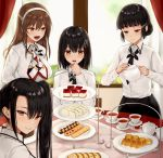 4girls :d ashigara_(kantai_collection) bangs black_hair black_neckwear black_skirt blunt_bangs blurry blush braided_bun breasts brown_eyes brown_hair buttons cake chair closed_mouth collared_shirt commentary_request cookie croissant cup curtains day depth_of_field dress_shirt eyebrows_visible_through_hair fang food haguro_(kantai_collection) hair_between_eyes hair_bun hair_ornament hair_ribbon hairband hairclip half-closed_eyes holding_teapot indoors kantai_collection kinokorec large_breasts long_hair long_sleeves looking_at_another looking_at_viewer looking_back looking_down multicolored_neckwear multiple_girls myoukou_(kantai_collection) nachi_(kantai_collection) necktie open_mouth parted_lips pencil_skirt plate red_ribbon ribbon sandwich shirt short_hair side_ponytail sidelocks sitting skirt smile standing table tea teacup teapot tiered_tray white_hairband white_shirt window