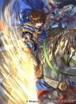 1boy angry armor attack attacking_viewer blue_cape brown_eyes brown_hair cape castle clouds cloudy_sky dragon dual_wielding falling fire_emblem fire_emblem:_seisen_no_keifu fire_emblem:_thracia_776 fire_emblem_cipher fortress gem holding holding_spear holding_sword holding_weapon horse horseback_riding leaf_(fire_emblem) lightning male_focus nintendo official_art open_mouth polearm riding serious short_hair shoulder_armor sky solo spear suzuki_rika sword teeth weapon white_armor white_horse wyvern
