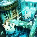 air_bubble bubble chimera fish manino_(mofuritaionaka) no_humans original rabbit ruins seaweed underwater water