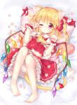 1girl ;o absurdres animal_ears ascot barefoot bed_sheet blonde_hair bloomers blush cat_ears cat_tail crystal diagonal_stripes eyebrows_visible_through_hair flandre_scarlet flower frilled_ascot frilled_shirt_collar frills from_above full_body hair_ribbon heart highres kemonomimi_mode knees_up long_hair looking_at_viewer lying mimi_(mimi_puru) nail_art nail_polish no_hat no_headwear on_back one_eye_closed paw_pose paw_print pigeon-toed pillow pink_nails puffy_short_sleeves puffy_sleeves red_eyes red_ribbon ribbon short_sleeves side_ponytail skirt skirt_set solo striped tail tail_ribbon toenail_polish touhou underwear wings wrist_cuffs yellow_neckwear