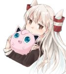 1girl 1other amatsukaze_(kantai_collection) brown_eyes creatures_(company) crossover dress game_freak gen_1_pokemon hair_tubes hat hug jigglypuff kantai_collection long_hair mini_hat nintendo pokemon pokemon_(creature) sailor_dress silver_hair simple_background two_side_up u_yuz_xx upper_body white_background windsock
