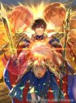 1girl 2boys armor black_coat blue_cape blue_gloves brown_eyes brown_hair cape clouds coat cuan_(fire_emblem) ethlin_(fire_emblem) father_and_son fire_emblem fire_emblem:_seisen_no_keifu fire_emblem:_thracia_776 fire_emblem_cipher gloves holding holding_spear holding_sword holding_weapon horse husband_and_wife leaf_(fire_emblem) long_hair male_focus mother_and_son multiple_boys nintendo official_art pauldrons pink_eyes pink_hair polearm ponytail short_hair shoulder_armor sidelocks solo spear sunset suzuki_rika sword weapon white_armor white_gloves