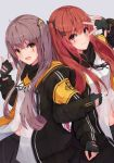 2girls :d arm_up bangs black_bow black_gloves black_jacket black_ribbon black_skirt blush bow breasts brown_eyes brown_hair closed_mouth commentary_request dress_shirt eyebrows_visible_through_hair fingerless_gloves girls_frontline gloves grey_background hachita_(odangoya) hair_between_eyes hair_bow hair_ornament hairclip highres jacket locked_arms long_sleeves multiple_girls navel neck_ribbon one_side_up open_clothes open_jacket open_mouth pleated_skirt red_eyes ribbon scar scar_across_eye shirt simple_background skirt small_breasts smile ump45_(girls_frontline) ump9_(girls_frontline) v_over_eye white_shirt