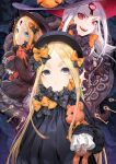3girls :d abigail_williams_(fate/grand_order) b.c.n.y. bangs black_bow black_dress black_gloves black_hat blonde_hair blue_eyes bow bug butterfly closed_mouth commentary_request dress eyebrows_visible_through_hair fate/grand_order fate_(series) forehead gloves glowing glowing_eyes hair_bow hat hat_bow highres insect key keyhole long_hair long_sleeves looking_at_viewer multiple_girls object_hug open_mouth orange_bow pale_skin parted_bangs polka_dot polka_dot_bow red_eyes revealing_clothes sharp_teeth signature sleeves_past_fingers sleeves_past_wrists smile stuffed_animal stuffed_toy suction_cups teddy_bear teeth tentacle very_long_hair violet_eyes white_hair witch_hat