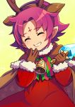 1girl antlers bell bow brown_gloves cape closed_eyes fa facial_mark fire_emblem fire_emblem:_fuuin_no_tsurugi fire_emblem_heroes forehead_mark fur_trim gloves grin highres kokouno_oyazi long_sleeves mamkute nintendo pointy_ears purple_hair reindeer_antlers short_hair simple_background smile solo upper_body yellow_background