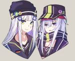 2girls alternate_costume alternate_headwear baseball_cap earphones echj g11_(girls_frontline) german_flag girls_frontline green_eyes grey_hair hat hk416_(girls_frontline) jacket long_hair multiple_girls scarf silver_hair violet_eyes