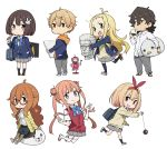 2boys 5girls :d bag blonde_hair blue_jacket blue_legwear blue_neckwear blush bow bowtie brown_eyes brown_footwear brown_hair buchou_(kono_bijutsubu_niwa_mondai_ga_aru!) bunny_hair_ornament canvas cardigan character_request chibi closed_mouth colette_(kono_bijutsubu_niwa_mondai_ga_aru!) collared_shirt commentary_request double_bun double_v fang green_neckwear grey_skirt grin hair_bow hair_flaps hair_ornament hairband hand_up highres holding imari_maria imigimuru jacket jitome kono_bijutsubu_niwa_mondai_ga_aru! loafers long_hair long_sleeves looking_at_viewer multiple_boys multiple_girls open_mouth orange_hair pencil pencil_skirt pleated_skirt red-framed_eyewear red_vest running s school_bag school_uniform semi-rimless_eyewear shirt shoes short_hair shoulder_bag simple_background skirt smile socks standing sweater tachibana_yumeko twintails uchimaki_subaru under-rim_eyewear usami_mizuki v vest violet_eyes white_background white_footwear white_legwear wing_collar yo-yo