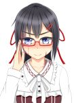 1girl bespectacled black_hair blue_eyes blush commentary_request dorei_to_no_seikatsu_~teaching_feeling~ eyebrows_visible_through_hair frilled_shirt_collar frills glasses hair_ornament hair_ribbon hairclip hand_up highres long_hair long_sleeves looking_at_viewer red-framed_eyewear red_ribbon ribbon robu_(ms08bb) semi-rimless_eyewear simple_background smile sylvie_(dorei_to_no_seikatsu) under-rim_eyewear upper_body v-shaped_eyebrows white_background