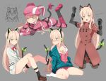 1girl absurdres animal_ears bangs bare_legs blonde_hair blush boots bow bowtie breasts cat_ear_headphones cat_ears cat_tail coat commentary_request eromanga_sensei fake_animal_ears girls_frontline gloves green_eyes hair_between_eyes hayarob headphones highres izumi_sagiri llenn_(sao) long_hair looking_at_viewer multiple_views off_shoulder pantyhose pink_clothes pout red_bow red_coat sidelocks solo ssss.gridman strap tail takarada_rikka thigh_strap tmp_(girls_frontline) very_long_hair white_cardigan yellow_bow