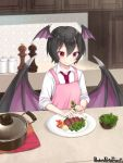1girl apron black_hair copyright_name counter food garnish head_wings indoors meat midori_(m_ryokutya) necktie pandora_party_project pepper pink_apron plate pot red_eyes red_neckwear shirt short_hair smile solo standing upper_body white_shirt wings