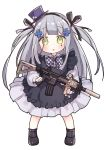 1girl :o assault_rifle bangs black_dress black_footwear black_legwear blush bow checkered checkered_bow chibi collared_shirt commentary_request dress dress_shirt eyebrows_visible_through_hair facial_mark frilled_dress frills full_body girls_frontline green_eyes gun hat heckler_&_koch hk416 hk416_(girls_frontline) holding holding_gun holding_weapon long_hair long_sleeves looking_at_viewer mini_hat mini_top_hat parted_lips puffy_long_sleeves puffy_sleeves purple_hat rifle shirt shoes sidelocks silver_hair simple_background sleeveless sleeveless_dress socks solo standing tilted_headwear top_hat tsuka two_side_up very_long_hair weapon white_background white_shirt