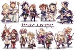 aerie_(bravely_default) agnes_oblige ahoge alfyn_(octopath_traveler) armor armored_dress blonde_hair blue_eyes boots bracelet braided_ponytail bravely_default_(series) brown_hair butterfly_wings chibi cloak cosplay costume_switch cyrus_(octopath_traveler) dancer dress edea_lee elbow_gloves fairy faulds fringe_trim gloves h'aanit_(octopath_traveler) hat high_ponytail jewelry long_hair looking_at_viewer magnolia_arch multiple_boys multiple_girls necklace octopath_traveler olberic_eisenberg open_mouth ophilia_(octopath_traveler) ponytail primrose_azelhart ringabel satokivi short_hair simple_background smile therion_(octopath_traveler) thigh-highs thigh_boots tiz_oria tressa_(octopath_traveler) wings yoshida_akihiko