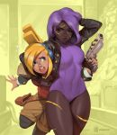 2girls black_legwear blonde_hair breasts brown_eyes commentary covered_navel cowboy_shot culottes cuts dark_skin english_commentary finger_on_trigger flying_sweatdrops gun hand_in_hair handgun headlock headphones injury jacket leather leather_jacket leotard long_hair medium_breasts mendeleev multiple_girls pistol purple_hair purple_leotard red_eyes ribbed_leotard robin_(the_iconoclasts) simon_stafsnes_andersen standing the_iconoclasts thick_thighs thighs weapon