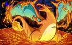 absurdres cameo charizard charmeleon charmeleon_(cameo) creatures_(company) dragon feet_out_of_frame fiery_tail fire flame game_freak gen_1_pokemon highres molten_rock neartarc night night_sky nintendo pokemon pokemon_(creature) profile signature sky solo standing tail watermark web_address wings