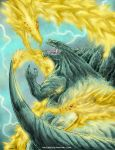 absurdres claws deviantart_username dragon extra_eyes ghidorah_(godzilla:_the_planet_eater) glowing glowing_eyes godzilla godzilla_(series) godzilla_earth gold_skin green_skin highres horns huge_filesize kaijukid kaijuu king_ghidorah lighting long_neck monster multiple_heads no_humans open_mouth red_eyes scales sharp_teeth tail teeth