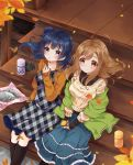 2girls autumn_leaves bangs black_footwear black_shirt blue_capelet blue_hair blue_skirt blush boots brown_cardigan brown_eyes brown_hair capelet cover cover_page demon doujin_cover dress food furoshiki hands_on_lap holding holding_food holding_leaf knee_boots kunikida_hanamaru layered_skirt leaf love_live! love_live!_sunshine!! mikimo_nezumi multiple_girls parted_lips plaid plaid_dress porch shirt side_bun sitting sitting_on_stairs skirt smile stairs sweater sweet_potato textless thermos tsushima_yoshiko violet_eyes white_sweater yakiimo