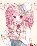 1girl :d alternate_hairstyle artist_name bang_dream! bangs blue_hat blueberry bow commentary_request corset drill_hair earrings food frilled_hat frills fruit hair_bow hair_ornament hat hat_bow hat_ornament heart heart_hands jewelry looking_at_viewer macaron maruyama_aya neck_ribbon open_mouth patzzi pink_eyes pink_hair pink_ribbon ribbon sleeveless smile solo strawberry striped striped_bow striped_neckwear tan_background top_hat upper_body wrist_cuffs