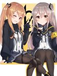 2girls ;d absurdres armband bangs black_footwear black_gloves black_jacket black_ribbon blush breasts brown_eyes brown_hair brown_legwear commentary dress_shirt eyebrows_visible_through_hair fingerless_gloves fingernails girls_frontline gloves grey_skirt hair_between_eyes hair_ornament hair_ribbon hand_up head_tilt highres jacket light_brown_hair long_hair multiple_girls neck_ribbon ohshit one_eye_closed open_clothes open_jacket open_mouth pantyhose pleated_skirt red_eyes ribbon scar scar_across_eye shirt sidelocks sitting skirt small_breasts smile ump45_(girls_frontline) ump9_(girls_frontline) very_long_hair white_shirt