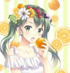 1girl bangs blush breasts collarbone commentary_request dress eyebrows_visible_through_hair flower food food_on_head frills fruit fruit_background fruit_on_head green_eyes green_hair hair_between_eyes hair_flower hair_ornament headband holding holding_food holding_fruit kantai_collection long_hair looking_at_viewer minakami_nagara object_on_head open_mouth orange simple_background small_breasts smile solo twintails white_dress zuikaku_(kantai_collection)