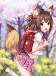 1girl :d animal_ear_fluff animal_ears artist_name backpack bag bangs blurry blurry_background blush brown_footwear brown_hair commentary_request day eyebrows_visible_through_hair fang fox_ears fox_tail frilled_legwear from_side highres long_hair no_pupils open_mouth original outdoors panties petals pink_sailor_collar pink_skirt pleated_skirt puffy_short_sleeves puffy_sleeves randoseru sailor_collar school_uniform serafuku shiny shiny_hair shirt shoes short_sleeves skirt skirt_lift smile socks solo standing standing_on_one_leg striped striped_panties tail tail_lift tree underwear usagihime violet_eyes white_legwear white_shirt