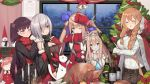 6+girls alcohol alternate_costume animal_costume apple blue_eyes blush bottle breasts brown_hair candle candlestand champagne christmas christmas_ornaments christmas_tree cleavage cloak closed_eyes fal_(girls_frontline) ferret fingernails food fork fruit girls_frontline green_eyes highres hood hooded_cloak large_breasts long_hair m1903_springfield_(girls_frontline) medium_breasts mg5_(girls_frontline) multiple_girls ntw-20_(girls_frontline) official_art open_mouth pink_hair potato purple_hair red_eyes reindeer_costume santa_costume scarf short_hair silver_hair smile suomi_kp31_(girls_frontline) sweater turkey_(food) wa2000_(girls_frontline) window wine_bottle