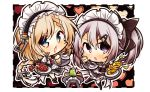2girls 7:08 9a-91_(girls_frontline) apron bangs black_footwear blonde_hair blue_eyes blush braid butter chibi coffee coffee_cup cross-laced_clothes cup dinergate_(girls_frontline) disposable_cup drink eyebrows_visible_through_hair eyes_visible_through_hair food g36_(girls_frontline) girls_frontline hair_between_eyes heart highres long_hair looking_at_viewer maid maid_apron maid_headdress mug multiple_girls necktie open_mouth pancake pie ponytail red_neckwear sidelocks silver_hair thigh-highs tray very_long_hair white_legwear