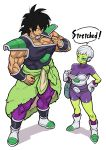 1boy 1girl absurdres alien belt biceps black_hair boots bracer breasts broly_(dragon_ball_super) cheelai clothes_pull dragon_ball dragon_ball_super dragon_ball_super_broly full_body gloves green_skin hand_on_hip highres muscle pants pelt purple_pants satousatotototo scar scouter short_hair shorts simple_background sleeveless smile spiky_hair standing white_background white_gloves