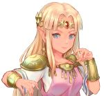 1girl blonde_hair blue_eyes bracer breasts closed_mouth collarbone earrings eyebrows_visible_through_hair gem hair_intakes jewelry kota_(tokiwa) long_hair medium_breasts nintendo pointy_ears princess princess_zelda short_sleeves shoulder_pads simple_background smile solo straight_hair the_legend_of_zelda the_legend_of_zelda:_a_link_between_worlds tiara triforce upper_body white_background