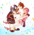 1boy 1girl bag baggy_pants baggy_shorts bangs belt belt_buckle black_shorts blue_eyes bow breasts brown_hair buckle chains confetti crown dress fingerless_gloves gloves grin hand_holding hood jacket jewelry kairi_(kingdom_hearts) kingdom_hearts kingdom_hearts_iii large_shoes looking_at_another medium_breasts medium_hair necklace pants pendant pink_dress pink_footwear pink_hair pouch ramochi_(auti) ribbon shoes short_hair short_sleeves shorts sleeveless smile sora_(kingdom_hearts) spiky_hair strap studded_belt violet_eyes white_background zipper