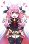 1boy absurdres animal_ears animalization astolfo_(fate) black_bow black_ribbon blush bow braid cat_ears cowboy_shot fate/apocrypha fate/grand_order fate_(series) furrification furry garter_straps hair_intakes hair_ribbon highres hinghoi long_braid looking_at_viewer male_focus multicolored_hair open_mouth paws pink_hair ribbon single_braid smile solo standing streaked_hair tail trap violet_eyes