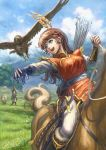 1boy 1girl absurdres arrow bird blue_eyes brown_hair commentary_request earrings falcon fantasy feathers fur_trim gloves highres horse horseback_riding jewelry long_hair original outdoors quiver riding saber_(weapon) scabbard scenery sheath sheathed sheep shiki_makoto single_glove sky solo_focus sword weapon