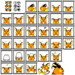 ! :3 :o ? ^_^ blush_stickers bucket bucket_on_head closed_eyes closed_eyes commentary creatures_(company) english_commentary game_freak gen_1_pokemon happy heart highres jumping looking_at_viewer looking_away lovux-the-great nintendo no_humans object_on_head official_style pixel_art pokemon pokemon_(game) pokemon_rgby raichu resized sad scared skull sleeping upscaled