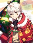 1boy bell cape christmas christmas_tree danno_gs fire_emblem fire_emblem:_kakusei fire_emblem_heroes fur_trim gloves hat highres hood looking_at_viewer male_focus male_my_unit_(fire_emblem:_kakusei) my_unit_(fire_emblem:_kakusei) nintendo red_gloves robe sack santa_costume santa_hat short_hair simple_background smile solo white_hair