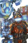 1boy 1girl blue_eyes crossed_arms double_v explosive extra_eyes glowing glowing_eyes grenade highres humanoid_robot kotone_a legion_(titanfall_2) looking_at_viewer looking_down looking_to_the_side mecha northstar_(titanfall) pouch science_fiction simulacrum_(titanfall) titanfall_(series) titanfall_2 v visor