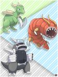alexalan beta_gyarados beta_pokemon beta_scyther blue_eyes capsule_monsters creatures_(company) game_freak gen_1_pokemon gyarados highres nintendo no_humans omega_(pokemon) pokemon scyther sugimori_ken_(style)