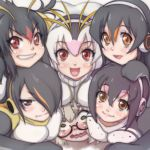 6+girls :d black_hair blush breast_press breast_rest breasts breasts_on_head brown_eyes commentary_request drawstring emperor_penguin_(kemono_friends) eyebrows_visible_through_hair gentoo_penguin_(kemono_friends) glasses grin hair_between_eyes hair_over_one_eye headphones humboldt_penguin_(kemono_friends) kemono_friends large_breasts looking_at_viewer margay_(kemono_friends) multicolored_hair multiple_girls open_mouth orange_eyes orange_hair penguins_performance_project_(kemono_friends) pile-up pink_hair red_eyes redhead rockhopper_penguin_(kemono_friends) royal_penguin_(kemono_friends) semi-rimless_eyewear smile t_jiroo_(ringofriend) under-rim_eyewear v-shaped_eyebrows wavy_mouth white_hair