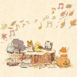 autumn autumn_leaves baton_(instrument) bird chick chipmunk commentary_request drum drumsticks fish fishbowl flute hamster headband holding holding_instrument instrument jack-o'-lantern leaf looking_at_another mojacookie mushroom music musical_note no_humans original piano playing_instrument porcupine rabbit red_headband running sepia_background signature simple_background squirrel standing tree_stump violin wind