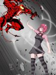 1boy 1girl animal_ears artist_name bodysuit breasts carnage_(marvel) cat_ears claws crossover deviantart_username dress duel elfen_lied fighting henil031 highres horns lucy_(elfen_lied) marvel mask medium_breasts open_mouth pink_hair red_eyes sharp_teeth short_hair signature spider-man_(series) symbiote teeth tentacle vectors
