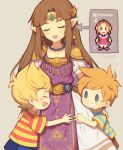 1girl 2boys blonde_hair brown_hair circlet claus dress grin hinawa hug long_hair lucas mother_(game) mother_3 mother_and_son multiple_boys nintendo pointy_ears princess_zelda shirt smile striped striped_shirt super_smash_bros. super_smash_bros._ultimate tears the_legend_of_zelda triforce twitter_username wusagi2