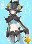 1girl animal_ears aqua_background bangs black_capelet black_hair black_legwear black_shorts blue_hair blue_legwear blue_shirt breasts capelet closed_mouth commentary cowboy_shot creatures_(company) crop_top eyeshadow fang frown game_freak gen_4_pokemon hair_between_eyes highres legs_apart long_sleeves looking_at_viewer luxray makeup midriff multicolored_hair navel nintendo open_fly pantyhose personification pokemon shirt short_hair short_shorts shorts sidelocks sleeves_past_wrists small_breasts solo standing stomach tail takeshima_(nia) two-tone_hair two-tone_legwear v-shaped_eyebrows yellow_eyes