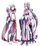 2boys abs arms_at_sides creatures_(company) earrings game_freak gen_1_pokemon hair_between_eyes hair_ornament horns japanese_clothes jewelry long_hair looking_at_viewer mega_mewtwo_x mega_mewtwo_y mewtwo multiple_boys navel nintendo personification pokemon ponytail purple_hair purple_scarf robe scarf very_long_hair white_background white_footwear wide_sleeves zazaki