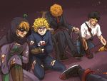 5boys blonde_hair blood blue_eyes cape dark_skin formal gloves hood injury kenny_mccormick multiple_boys orange_hair short_hair signalkj south_park south_park:_the_fractured_but_whole spiky_hair stan_marsh suit timmy_burch token_black torn_clothes tweek_tweak violet_eyes wheelchair